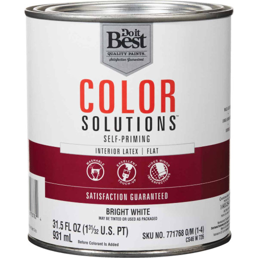 Do it Best Color Solutions Latex Self-Priming Flat Interior Wall Paint, Bright White, 1 Qt.