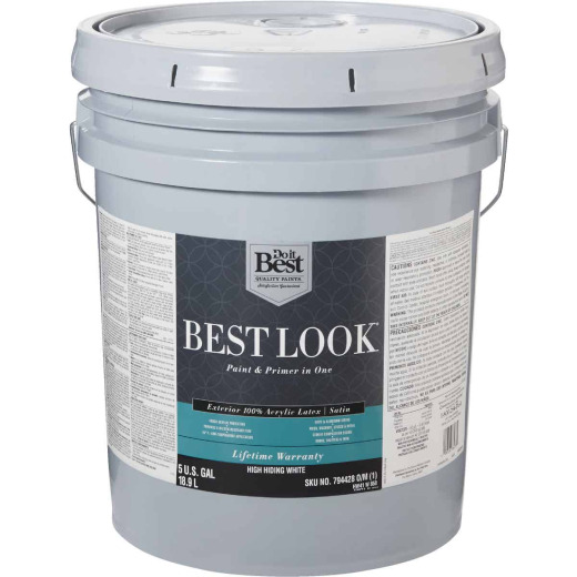 Best Look 100% Acrylic Latex Paint & Primer In One Satin Exterior House Paint, High Hiding White, 5 Gal.